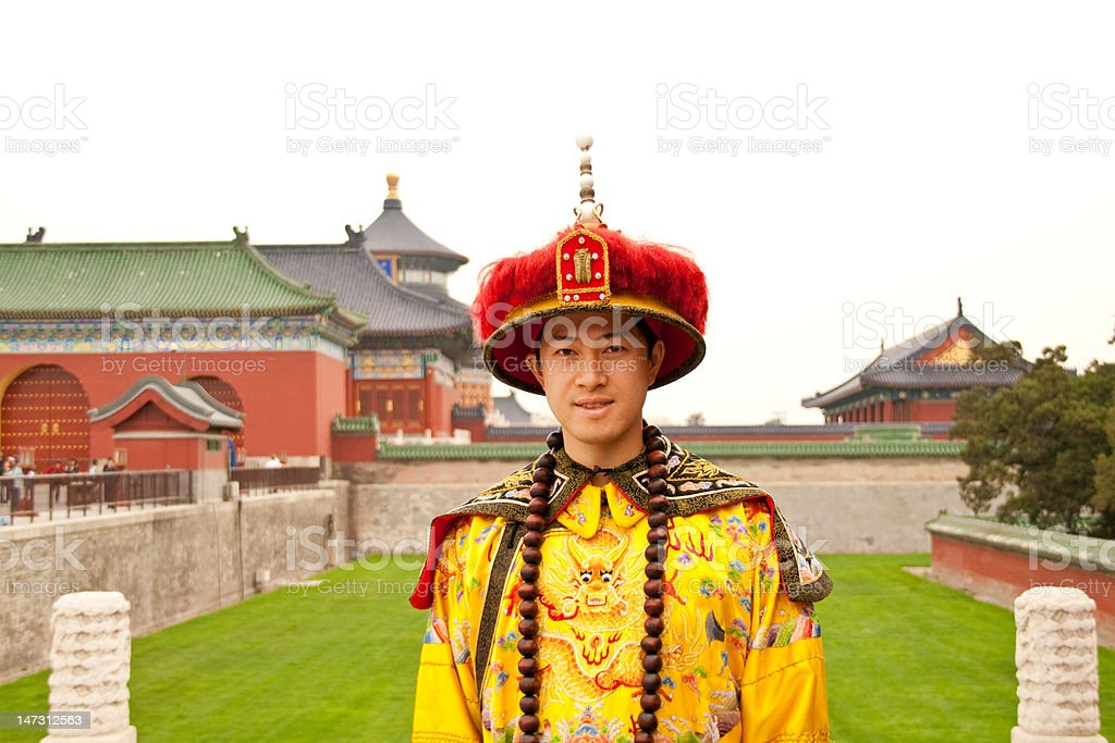 Chinese emporer at the temple of heaven stock photo