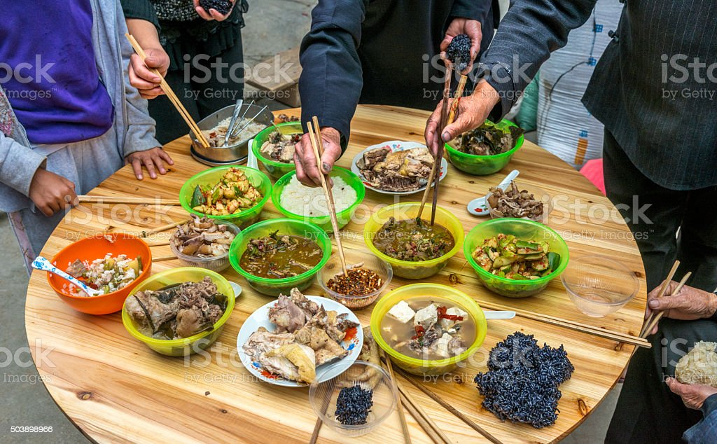 Chinese family dinner at home stock photo