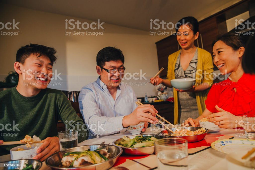 Chinese Family in Kitchen! stock photo