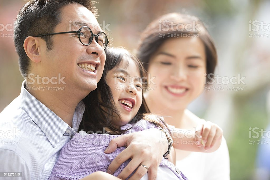 Chinese family in the park stock photo