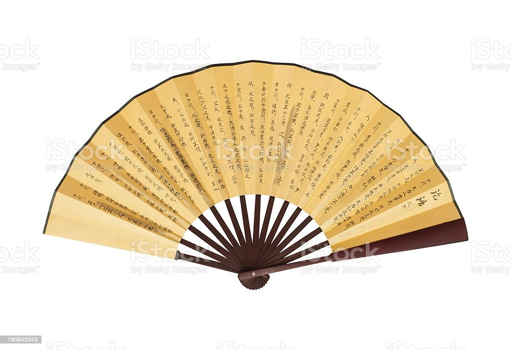 Chinese Fan (Clipping path!) isolated on white background royalty-free stock photo