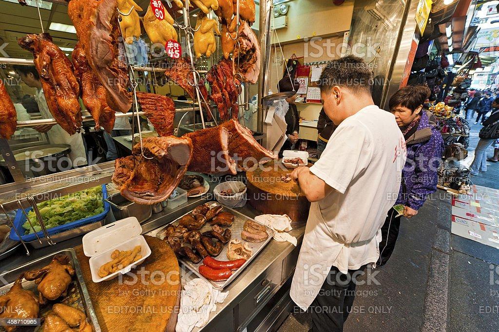 Chinese fast food seller street market Hong Kong royalty-free stock photo