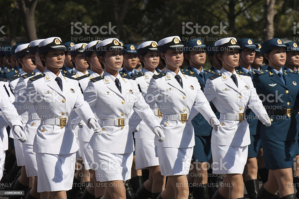 Chinese female soldiers marching of the military parade stock photo