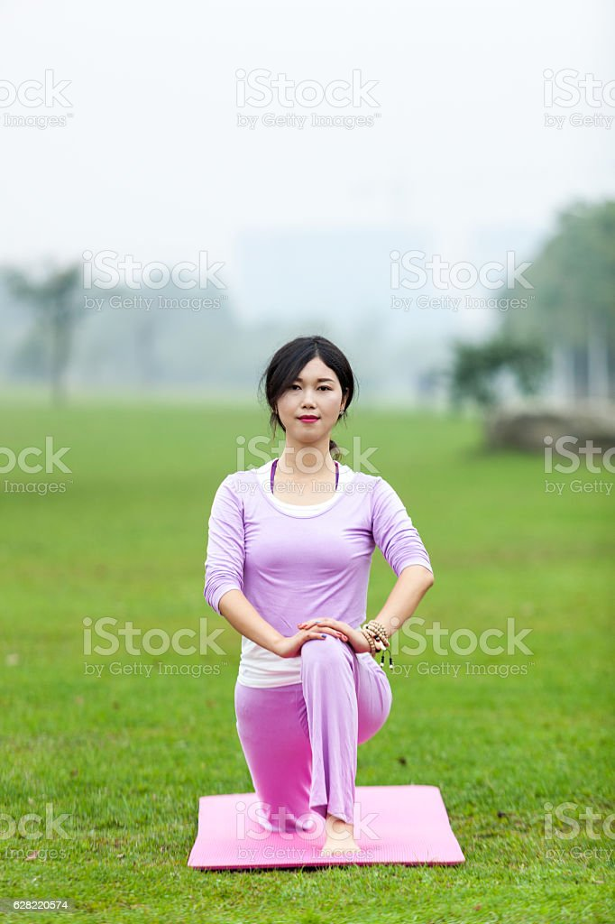 Chinese female yoga stock photo