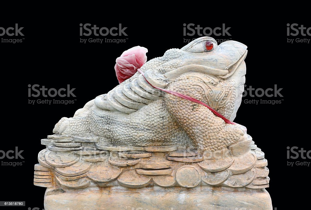 Chinese Feng Shui Frog with coins, stock photo