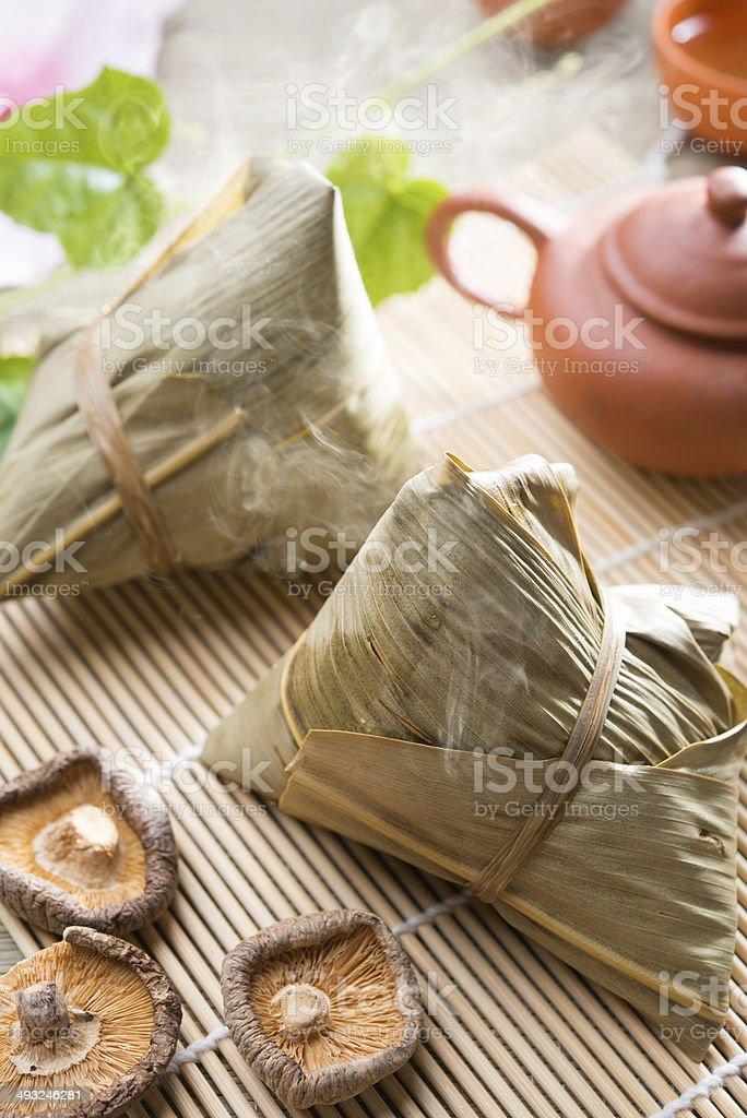 Chinese festive food rice dumpling stock photo