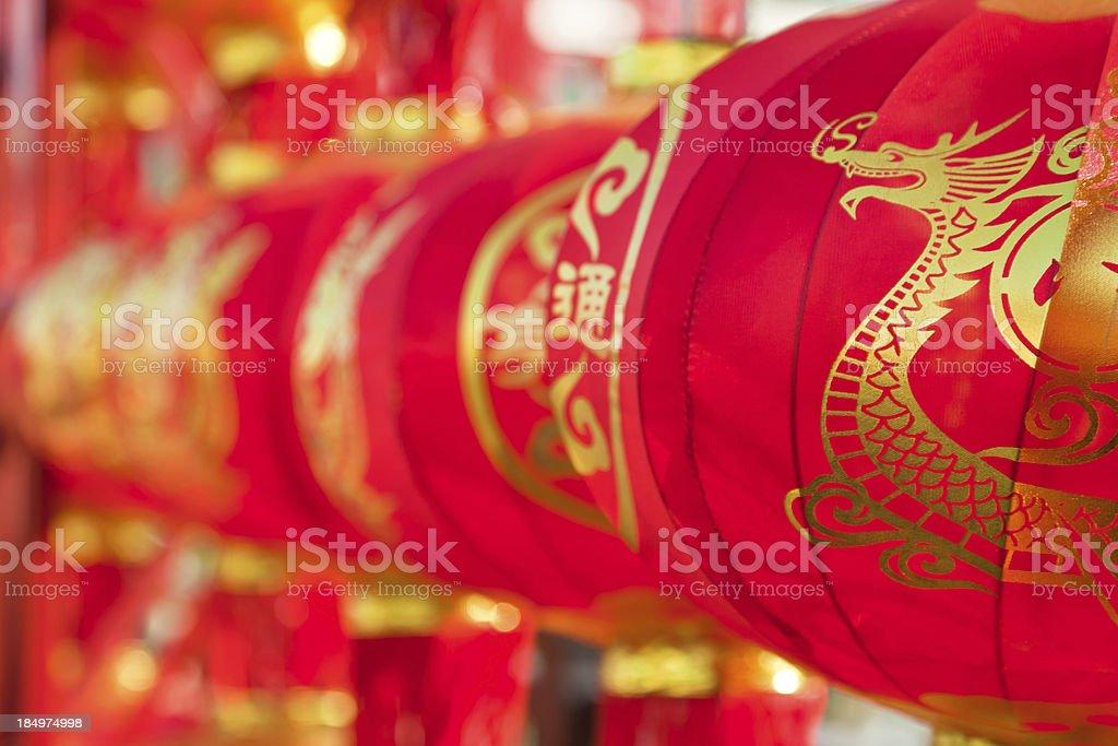 Chinese festive red lanterns stock photo