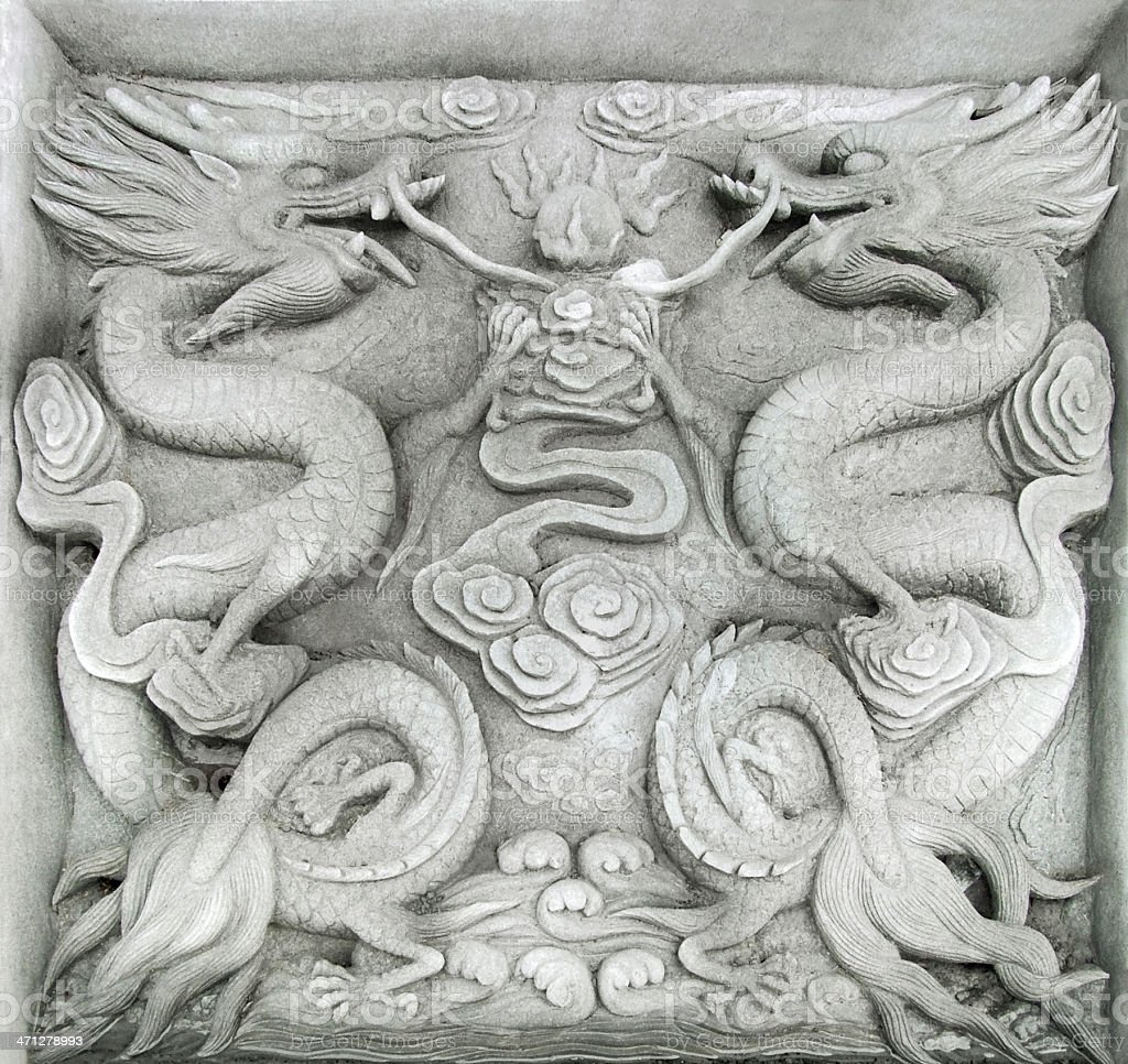 chinese firedrake relief stock photo