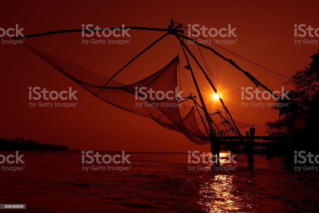 Chinese fishing net, Kochi, Kerala- India. stock photo