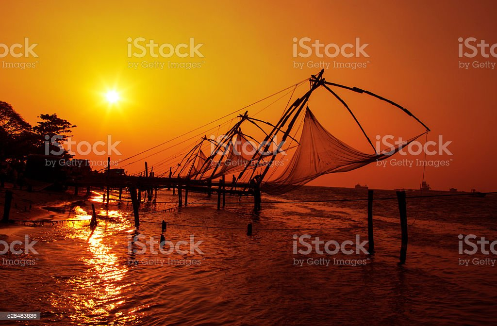 Chinese fishing net, Kochi, Kerala- India. stock photo