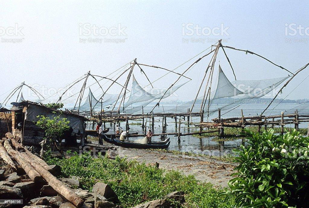 Chinese Fishing Nets at Cochin royalty-free stock photo
