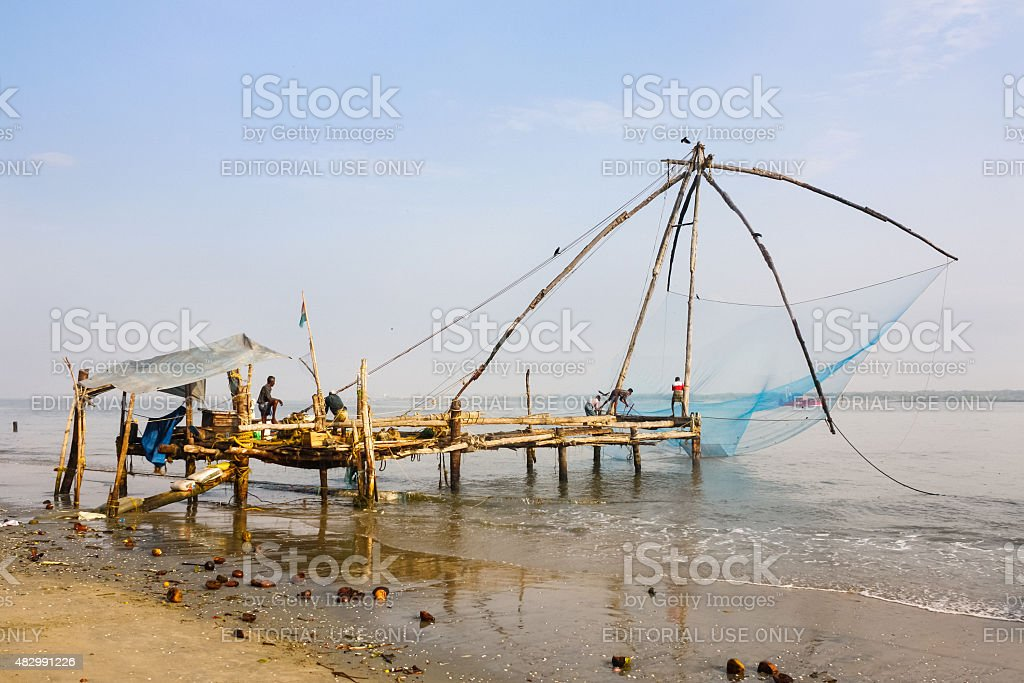 Chinese Fishing Nets at Fort Kochi Kerala India stock photo