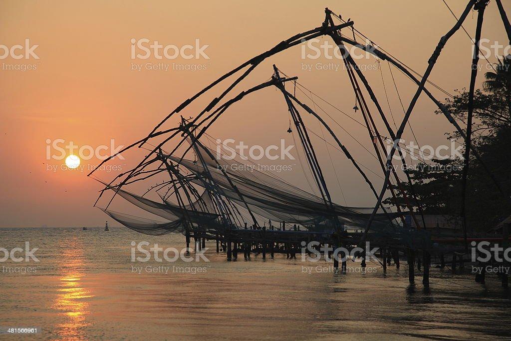 Chinese fishing nets, Cochin stock photo