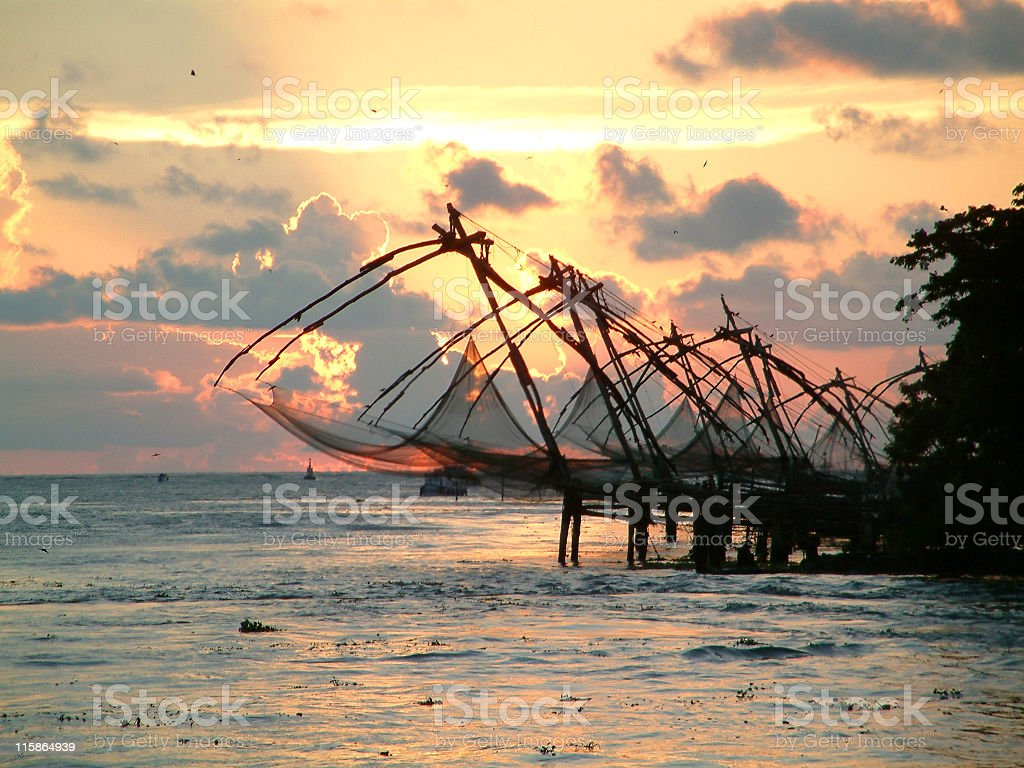 Chinese fishing nets ,Cochin,South India stock photo