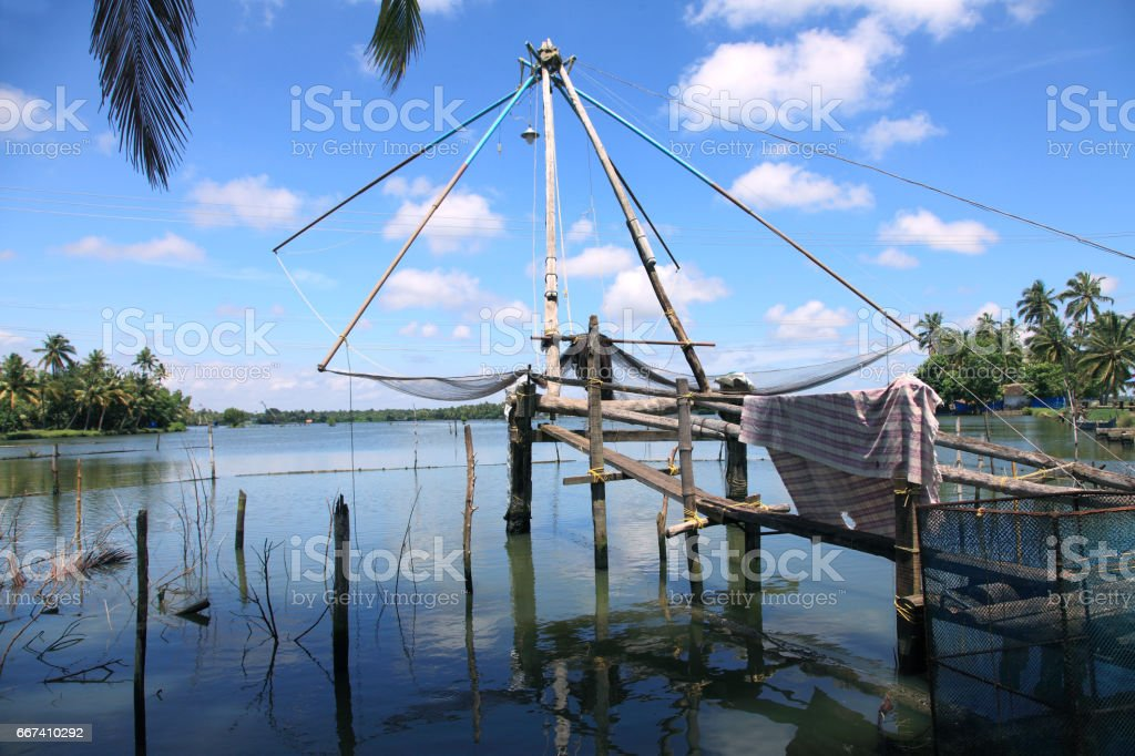 Chinese fishing nets in Backwaters stock photo