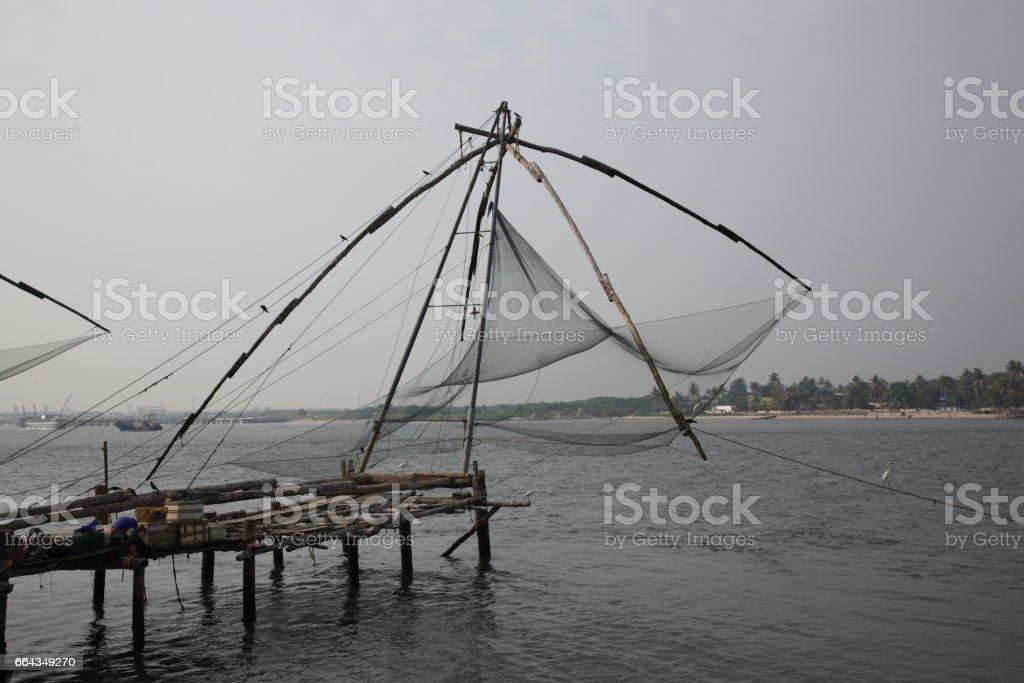 Chinese fishing nets in Kochi, Kerala, India stock photo