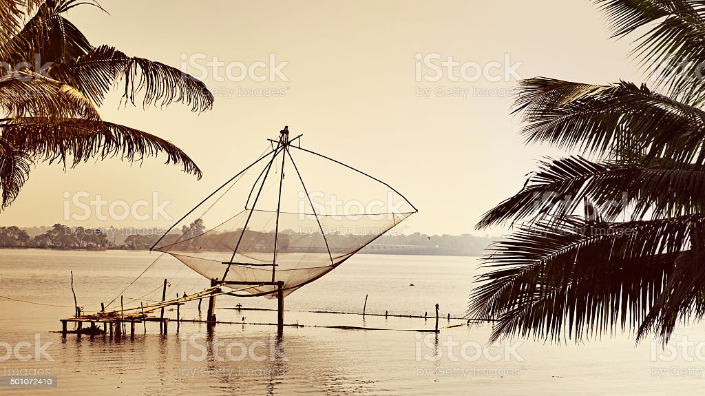 Chinese fishing nets in the Kerala Backwaters,India stock photo