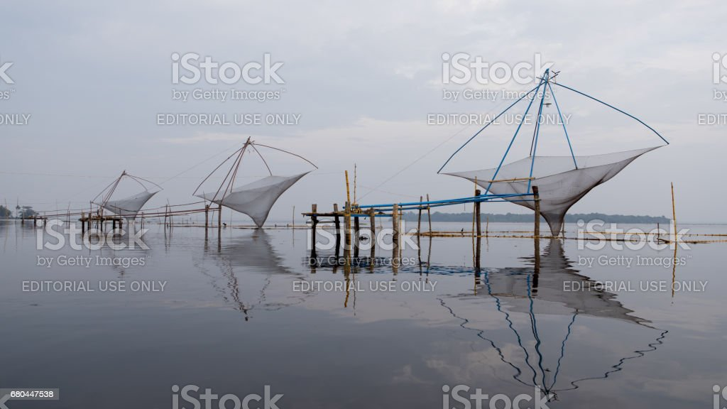 Chinese fishing nets, Kerala, India. stock photo