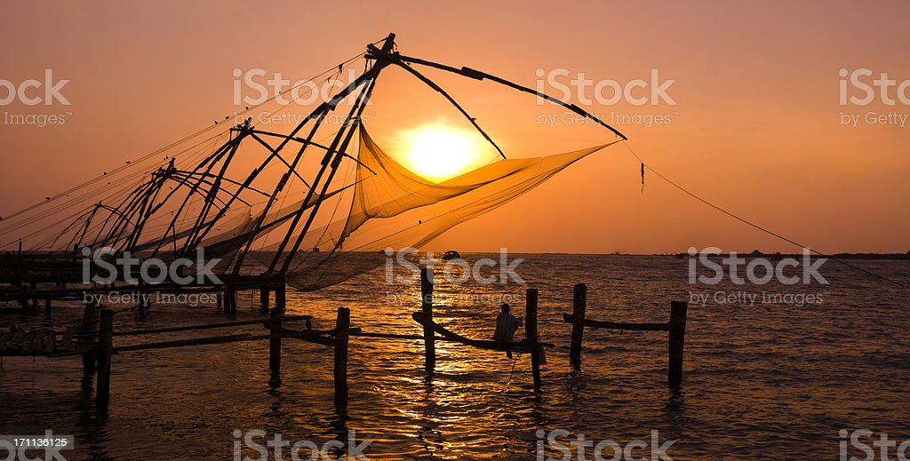 Chinese fishing nets stock photo