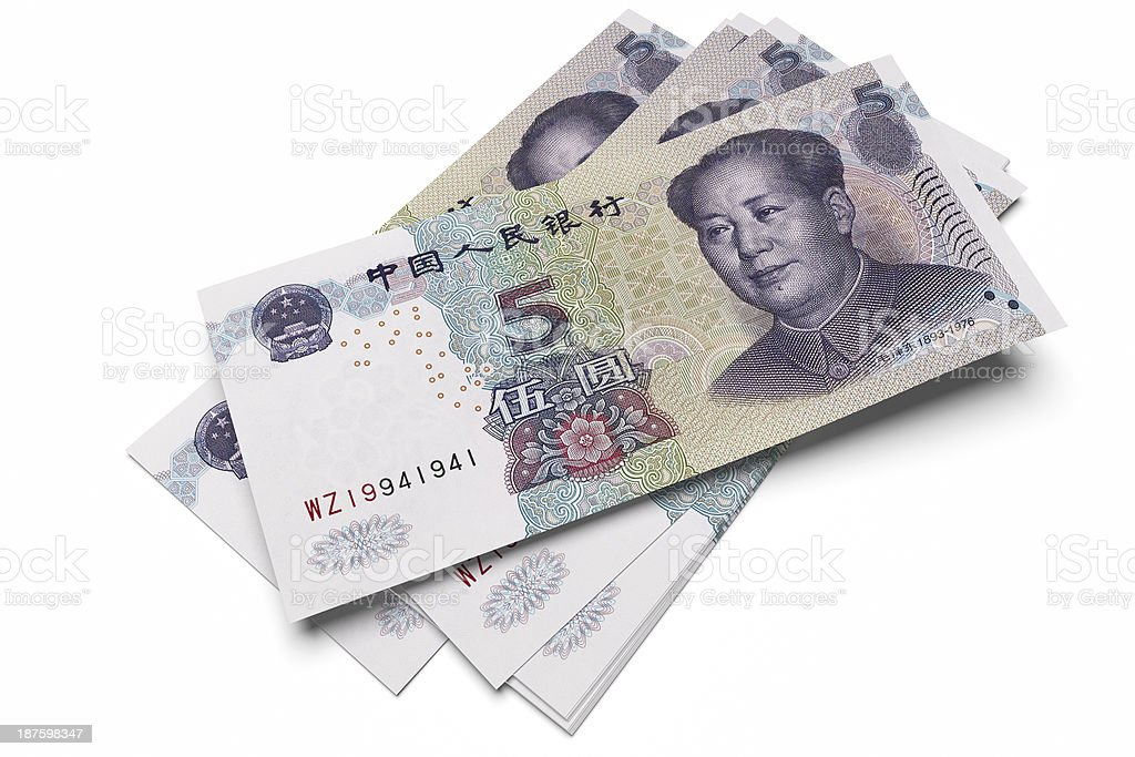 Chinese five Yuan notes stock photo