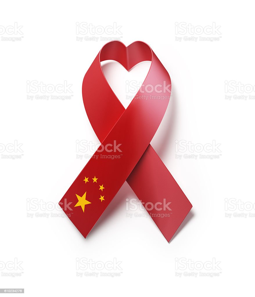 Chinese Flag Forming Heart  Shape : AIDS Awareness Concept stock photo