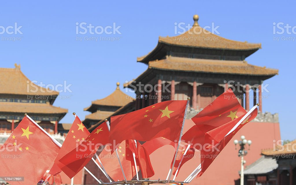 Chinese Flag in forbidden city royalty-free stock photo