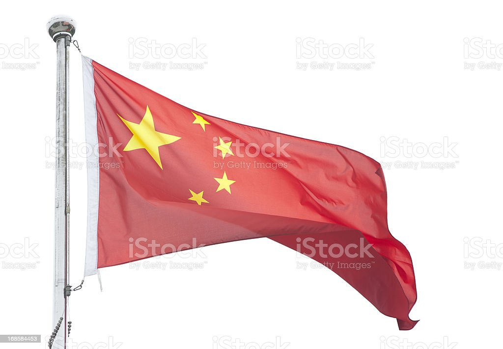 Chinese Flag Isolated on white stock photo