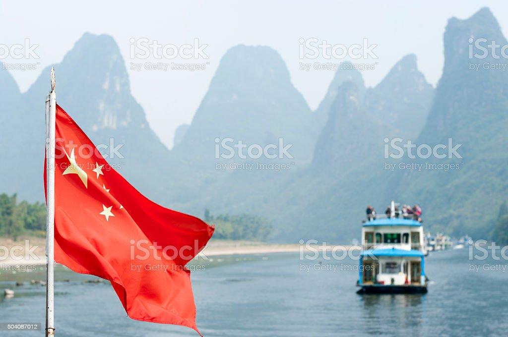 Chinese Flag, Lijiang River stock photo