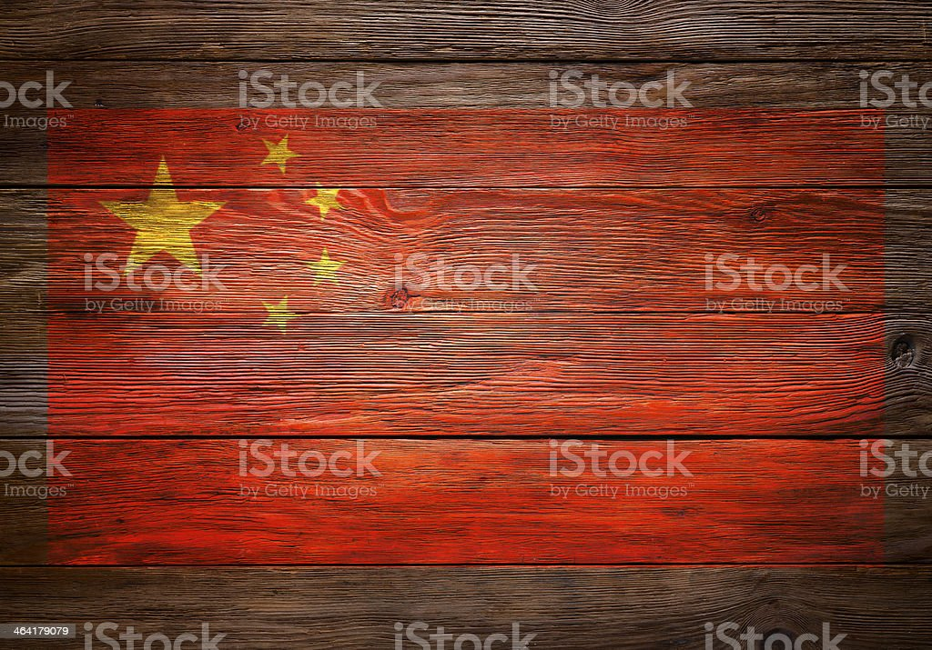 Chinese Flag on Wooden Background royalty-free stock photo