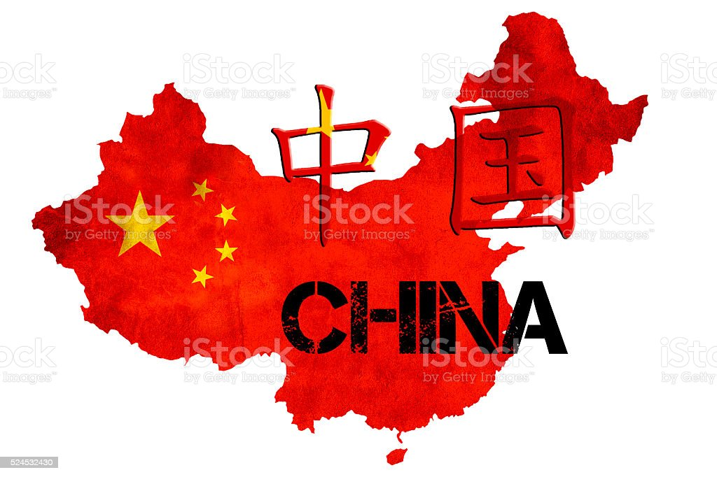 Chinese Flag within the map outline of China stock photo