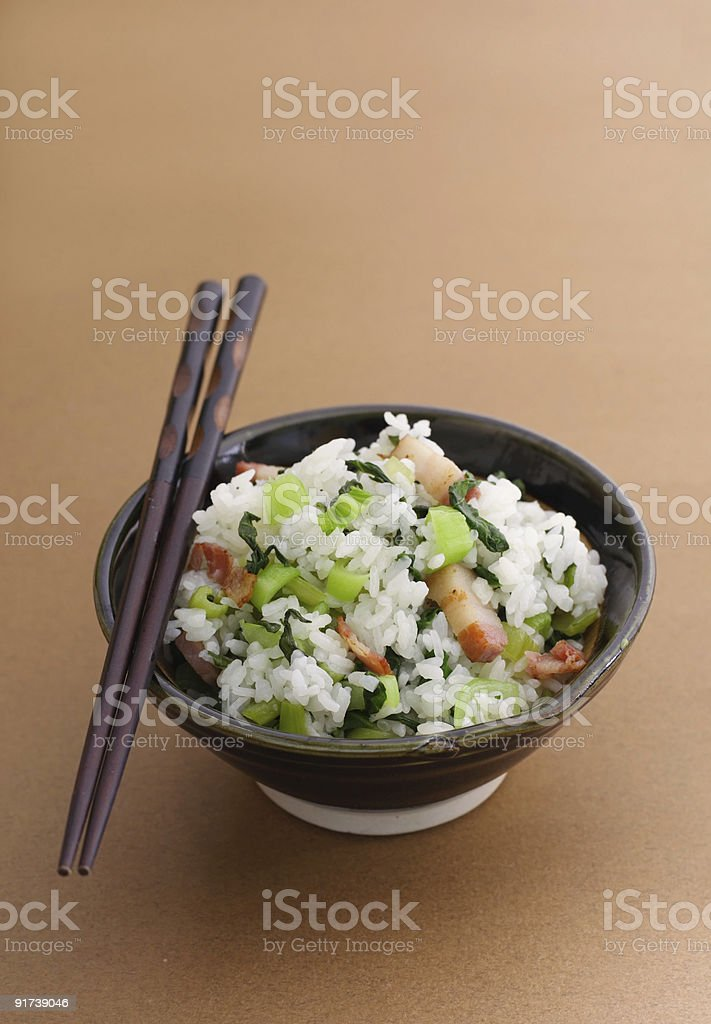 chinese flavored rice with bok choy royalty-free stock photo