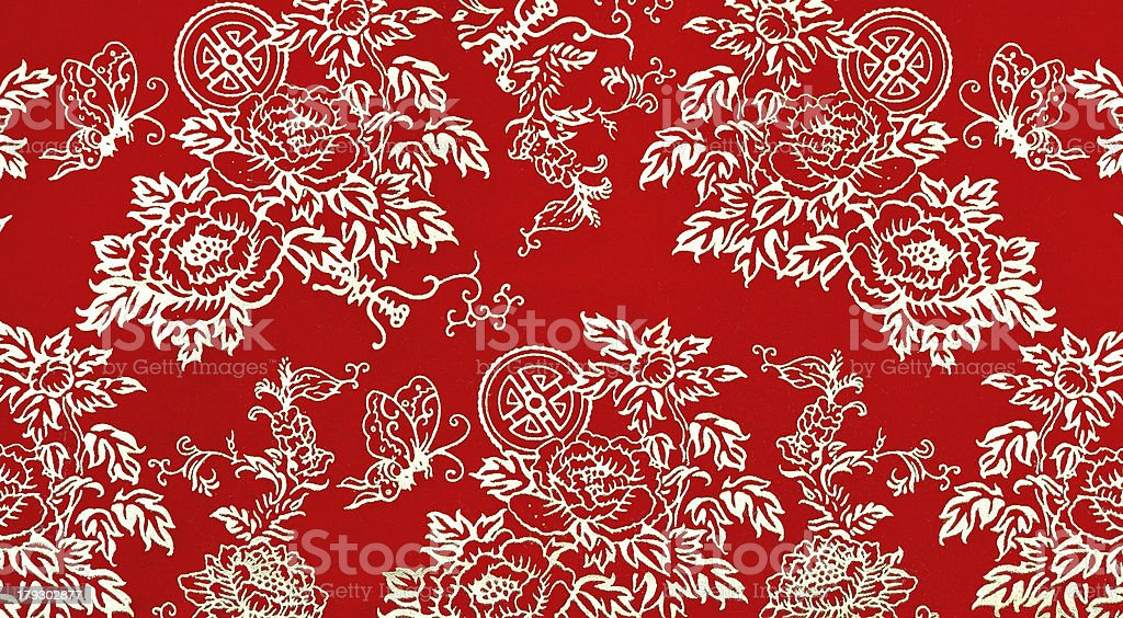 Chinese floral print pattern stock photo