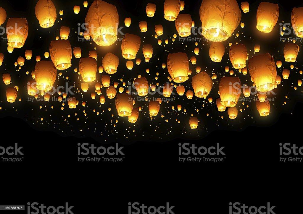 Chinese Fly Lanterns stock photo