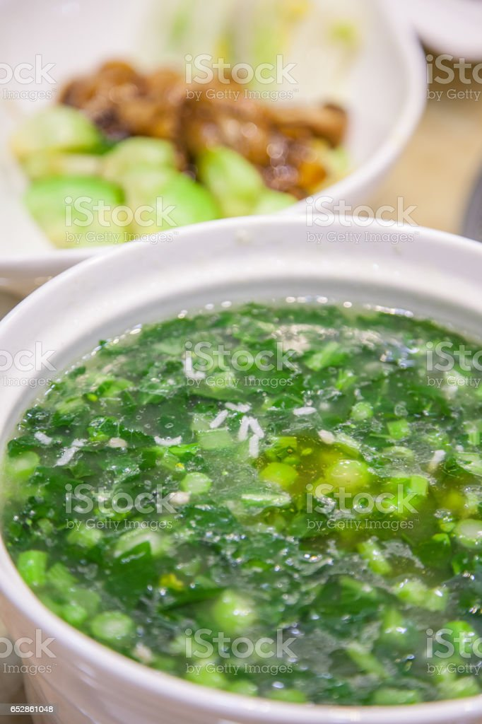 Chinese food and vegetable nutrition soup stock photo