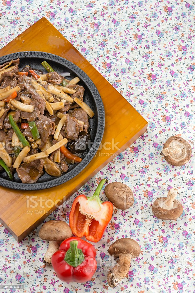 Chinese food, Beef fried mushrooms stock photo