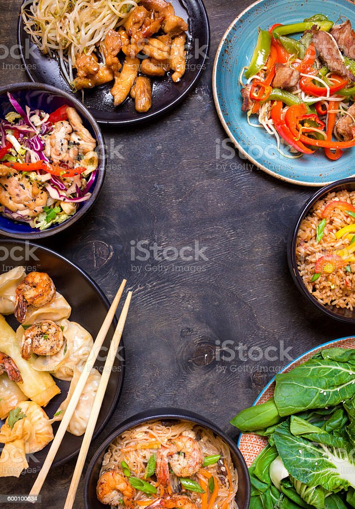 Chinese food black background stock photo