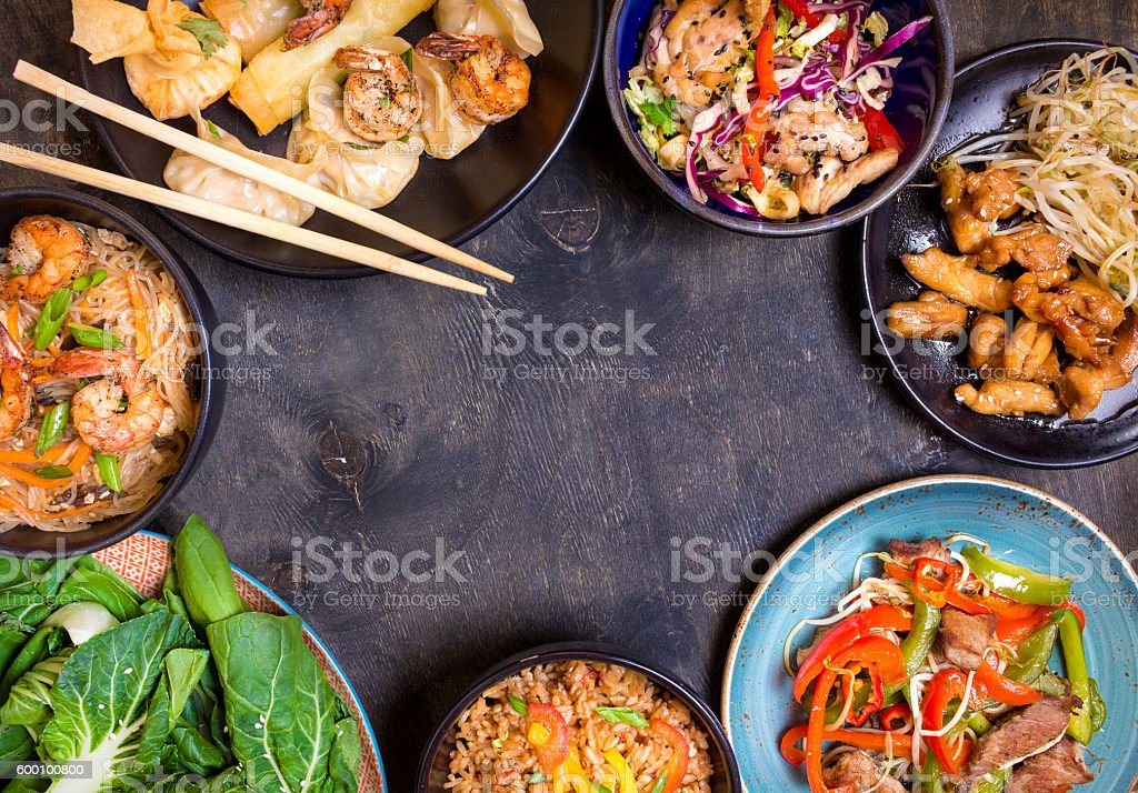 Chinese food black background stock photo