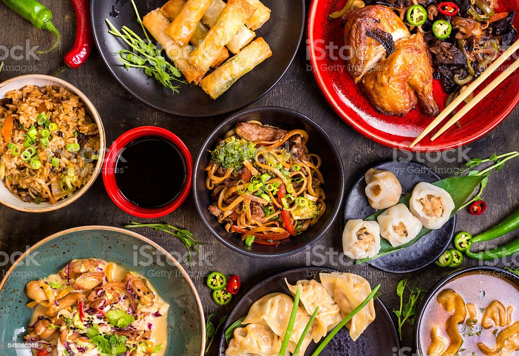 Chinese food blank background stock photo