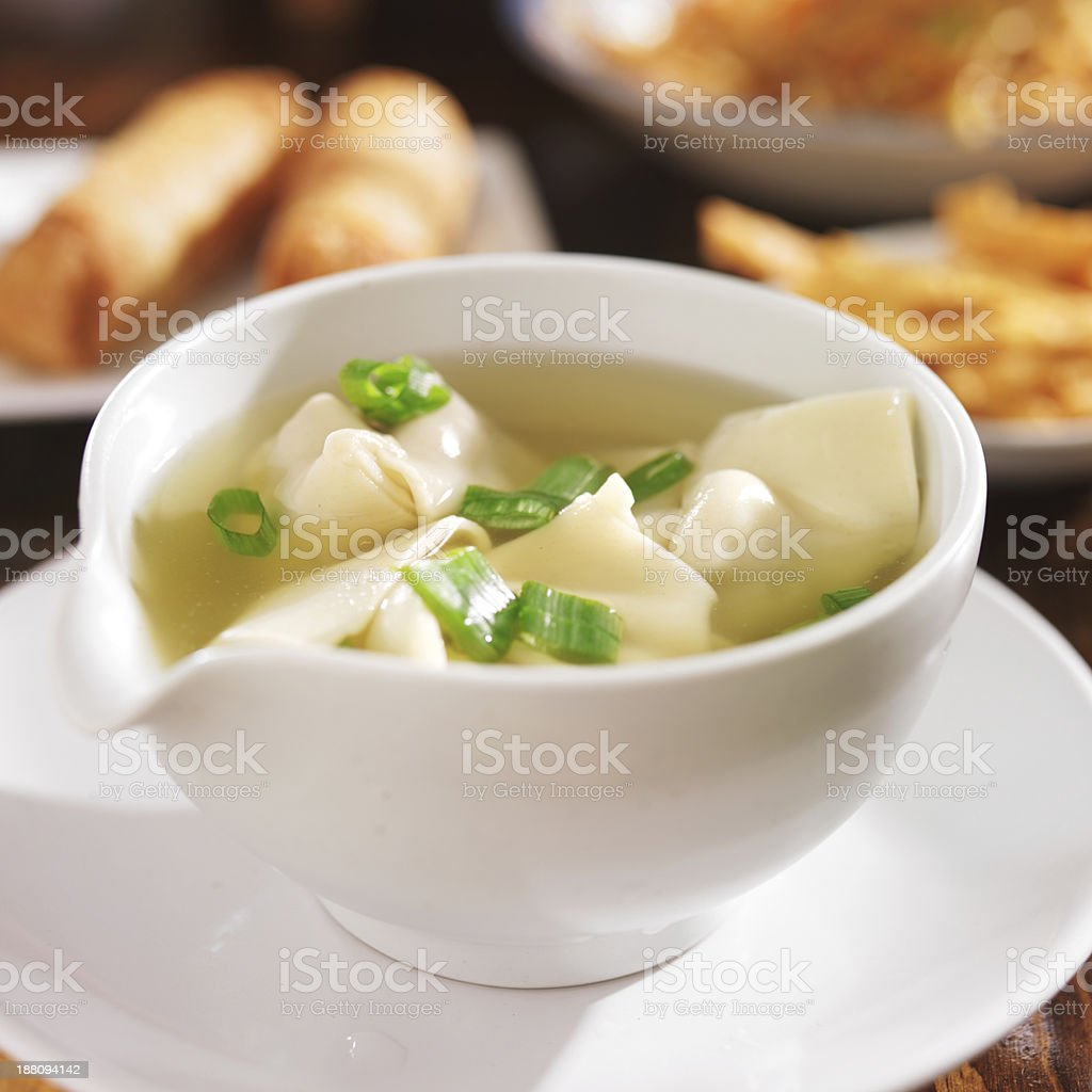chinese food - bowl of wonton soup stock photo