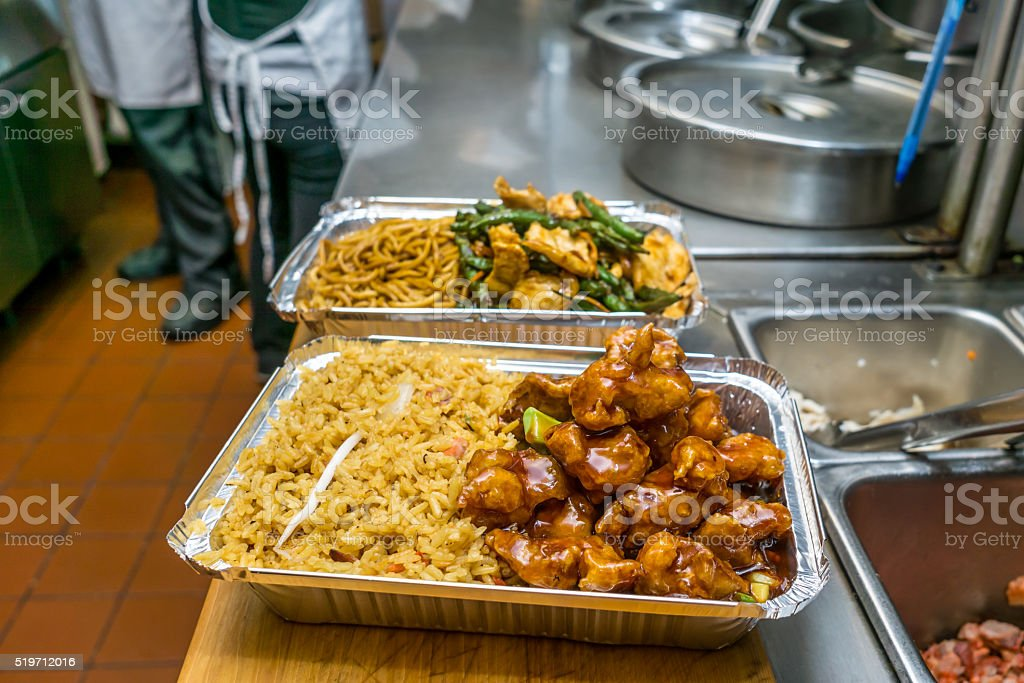 Chinese food Chicken with string bean and lo mein stock photo