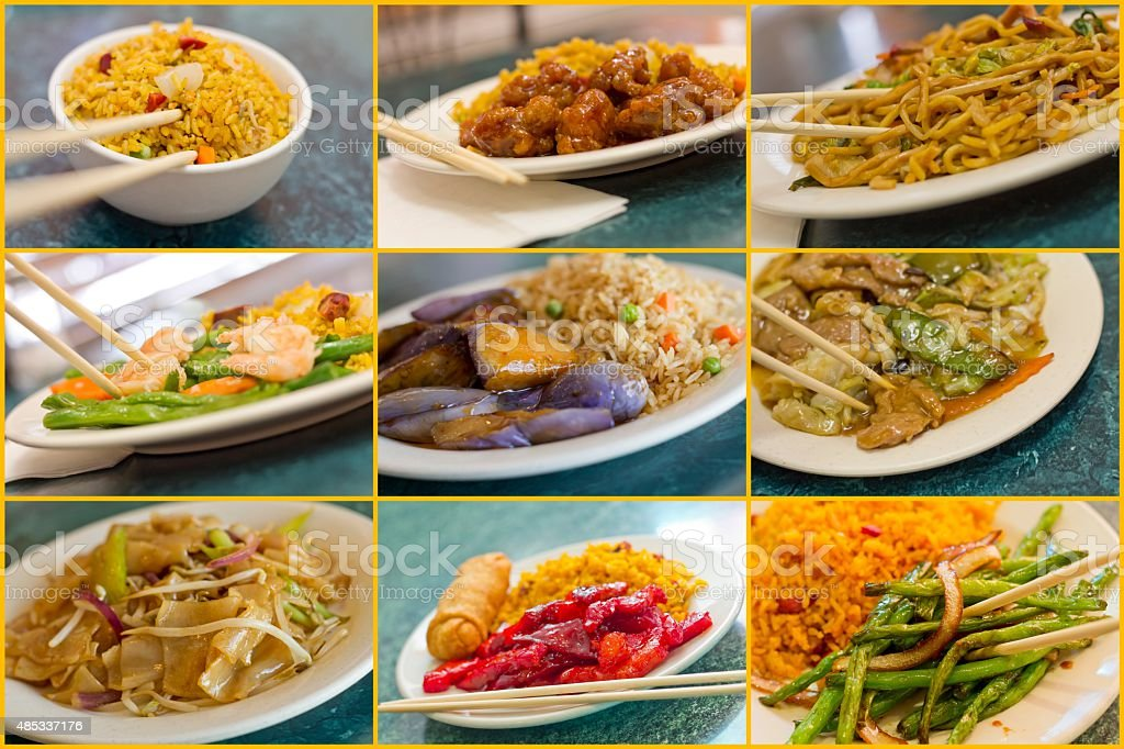 Chinese Food Collage stock photo