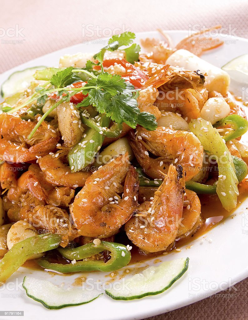 Chinese food - Cooked shrimps royalty-free stock photo