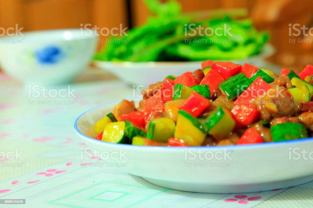 Chinese food, kung pao chicken stock photo