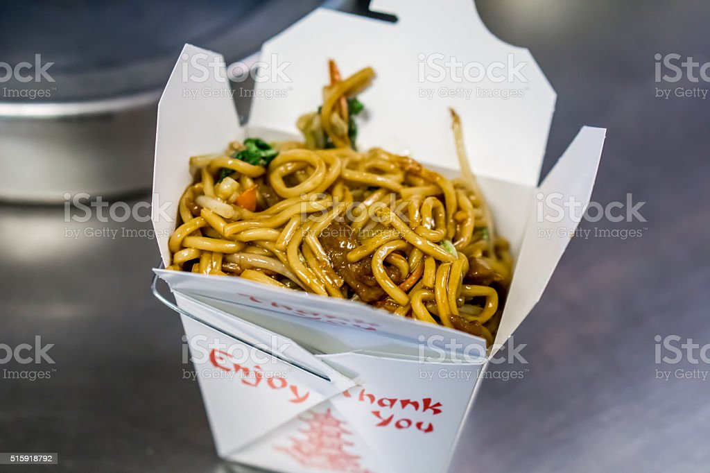 chinese food lo mein stock photo