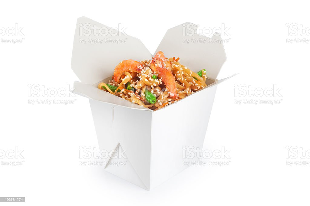 Chinese food. Noodles with shrimp isolated on white background. stock photo