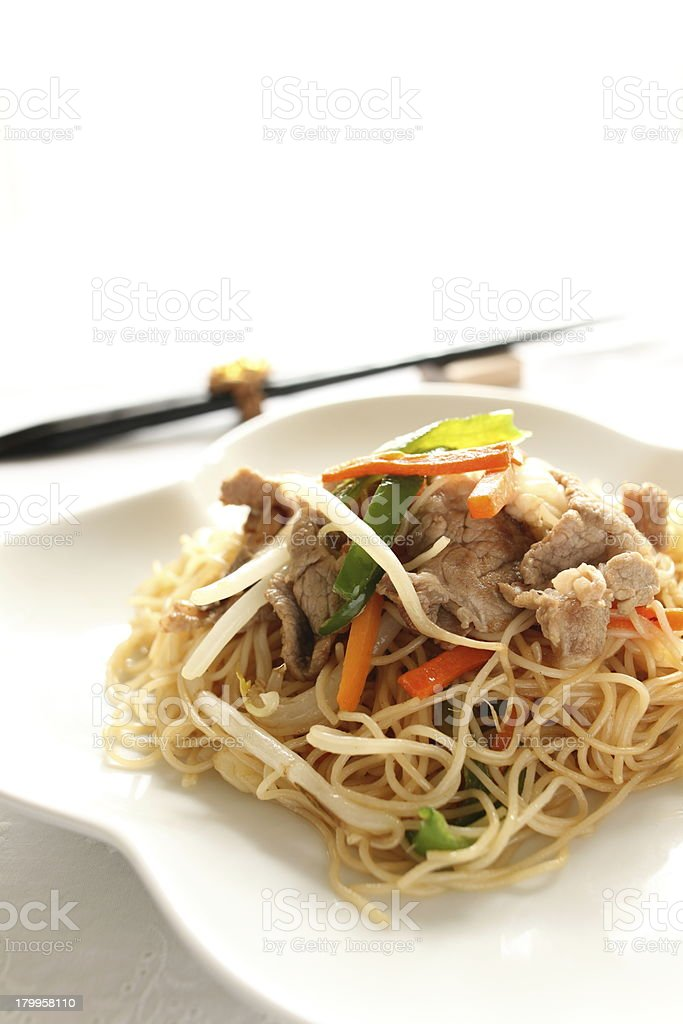 chinese food, pork and vegetable stir fried royalty-free stock photo