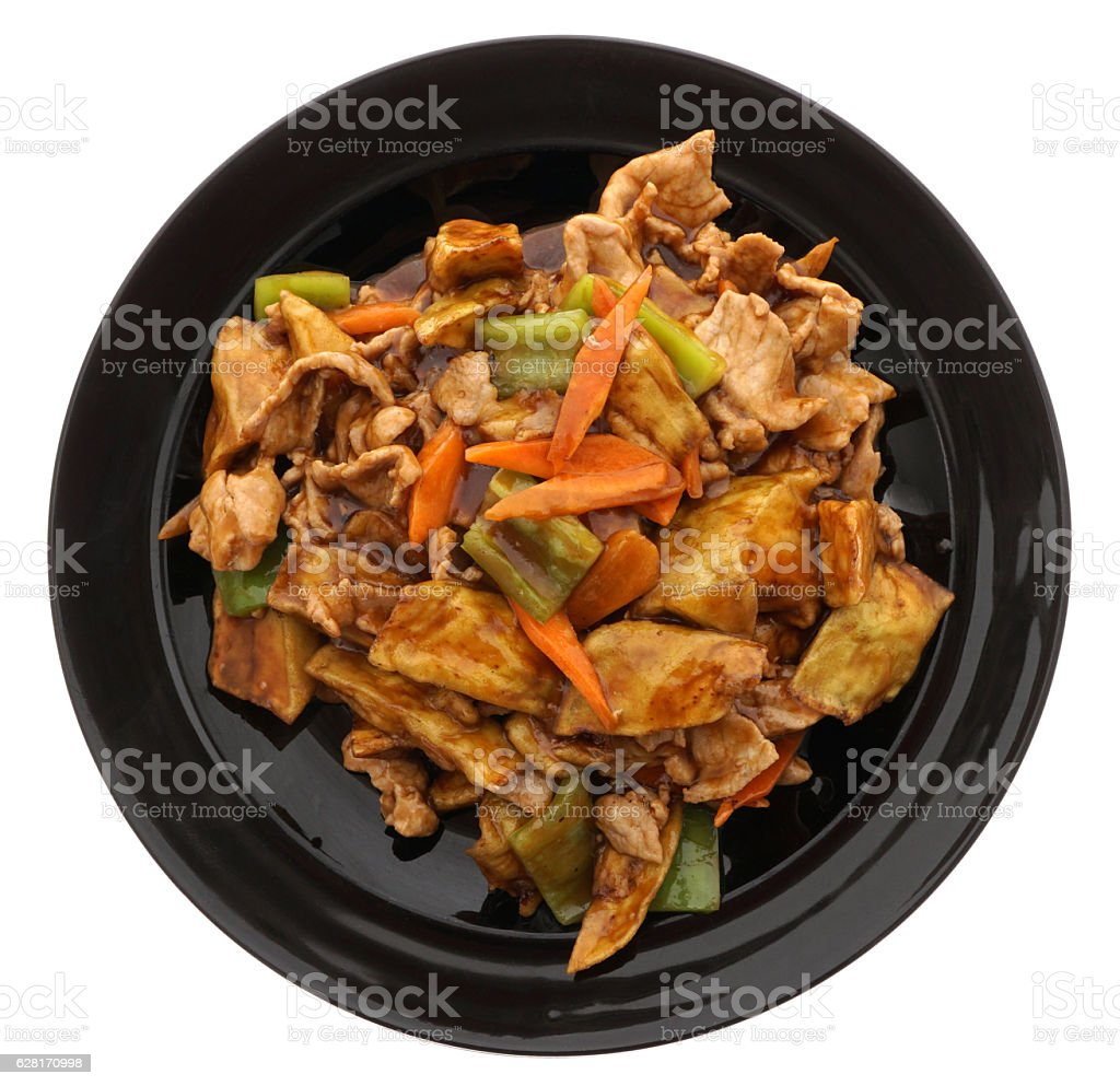 Chinese food. Pork with aubergines and vegetables stock photo