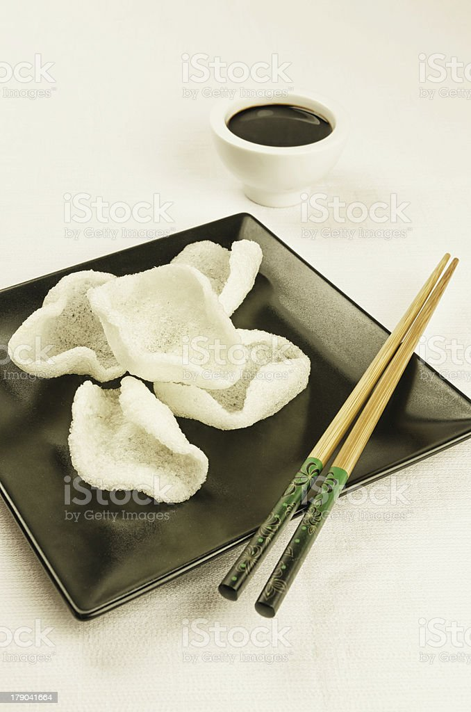 Chinese food, prawn crackers stock photo