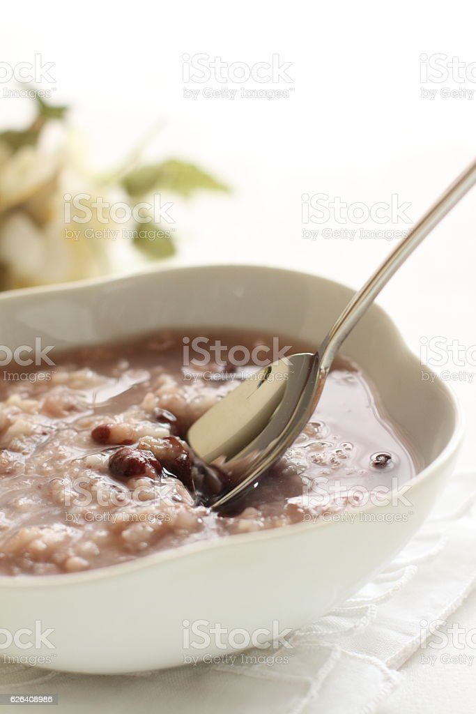 Chinese food, red bean congee stock photo