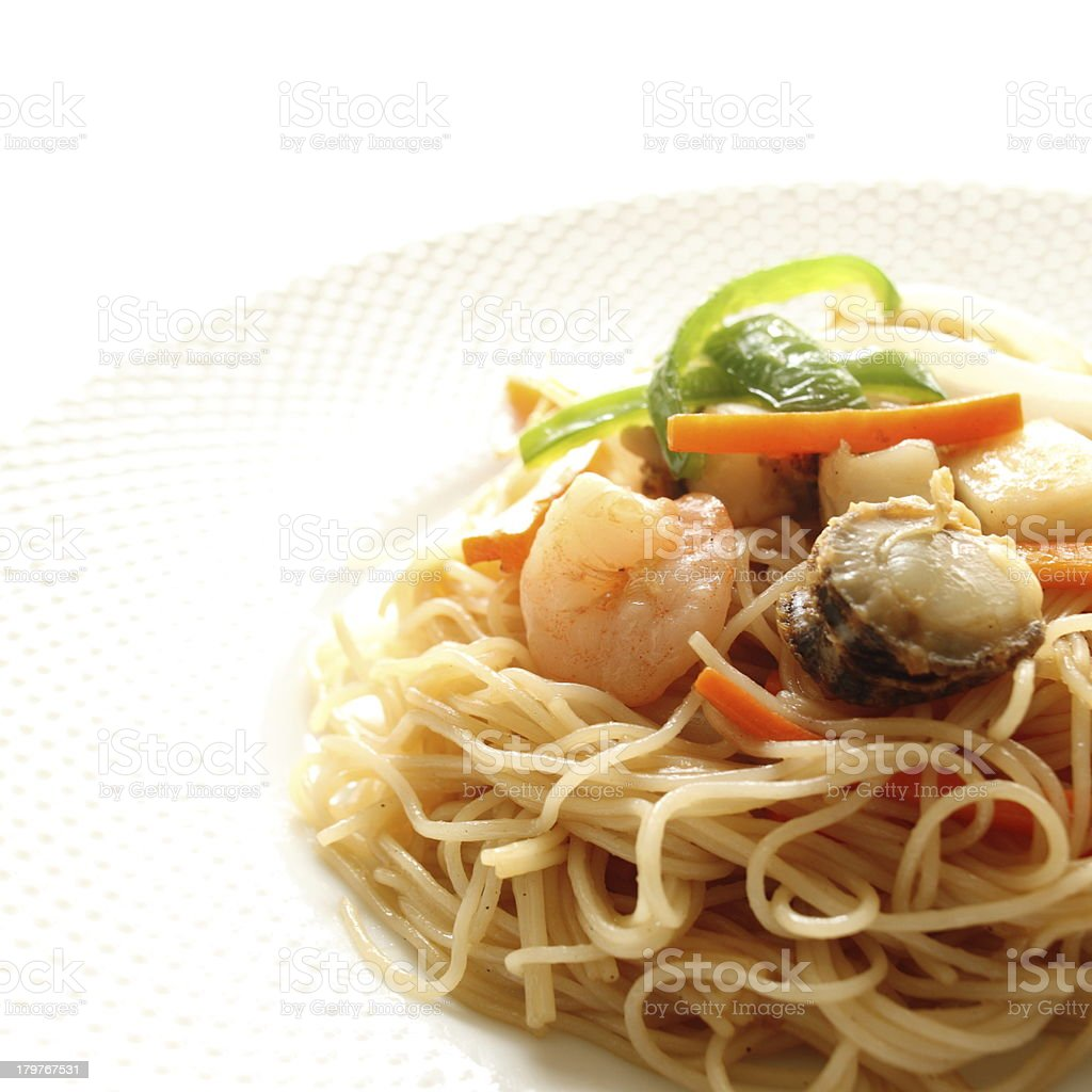 chinese food, seafood and rice noodles stir fried royalty-free stock photo